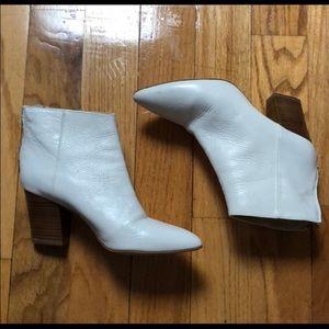 Zara White Leather Booties 9